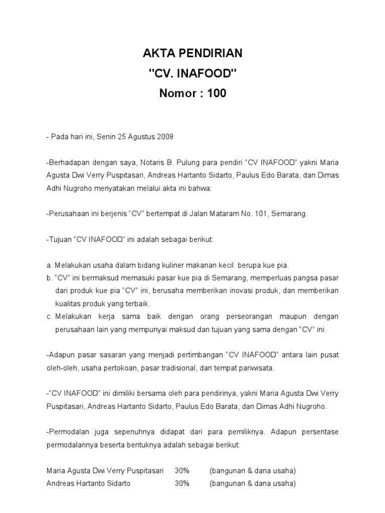 contoh akta CV